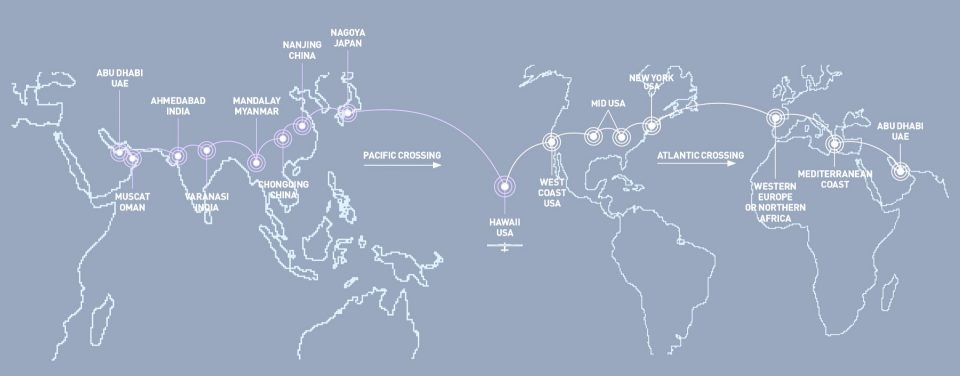Solar Impulse Routing - Solar Impulse's routing for the Around the world trip, 2015