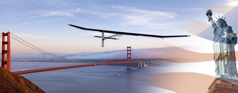 Solar Impulse flight across the USA - Campaign image for the Solar Impulse flight across the USA, showing the Golden Gate Bridge, San Francisco and the Statue of Liberty, New York