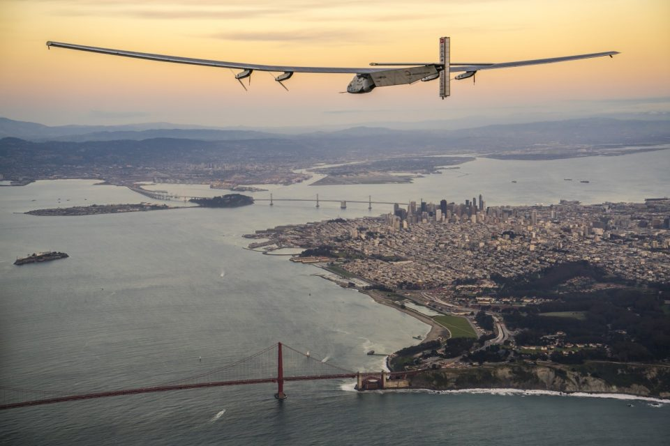 Solar Impulse landing to the US west coast at Moffett Airfield - Mountain View, USA, April 23rd 2016: Solar Impulse landed at Moffett Airfield, completing the pacific crossing. Departed from Abu Dhabi on march 9th 2015, the Round-the-World Solar Flight will take 500 flight hours and cover 35'000 km. Swiss founders and pilots, Bertrand Piccard and André Borschberg hope to demonstrate how pioneering spirit, innovation and clean technologies can change the world. The duo will take turns flying Solar Impulse 2, changing at each stop and will fly over the Arabian Sea, to India, to Myanmar, to China, across the Pacific Ocean, to the United States, over the Atlantic Ocean to Southern Europe or Northern Africa before finishing the journey by returning to the initial departure point. Landings will be made every few days to switch pilots and organize public events for governments, schools and universities.
