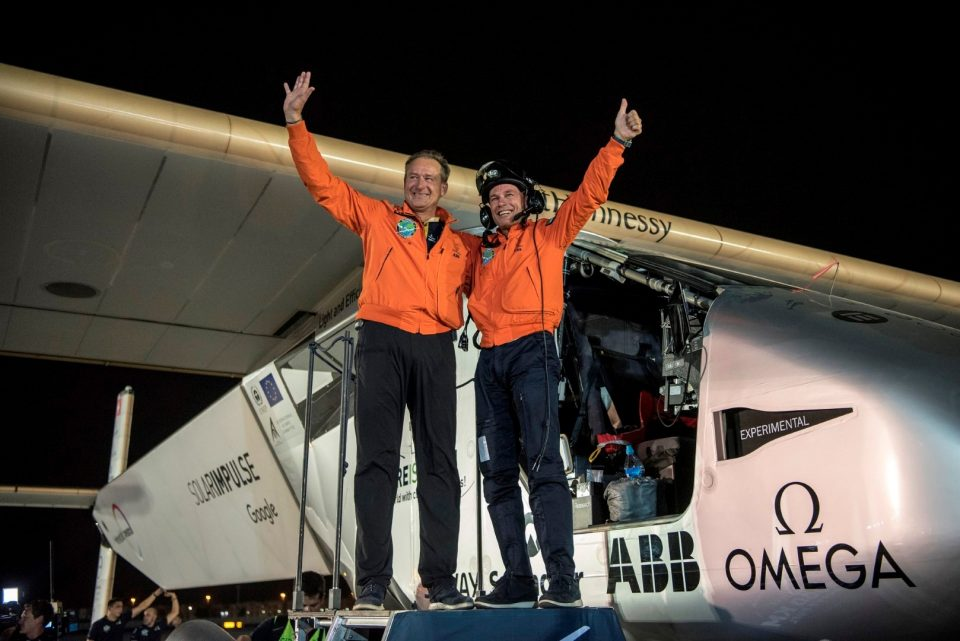 They did it! - André Borschberg and Bertrand Piccard after arriving back in Abu Dhabi