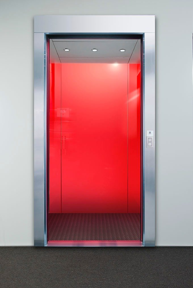 Back Painted Glass Cab - Schindler 5500 elevator interiors include a back painted glass option in a variety of colors.
