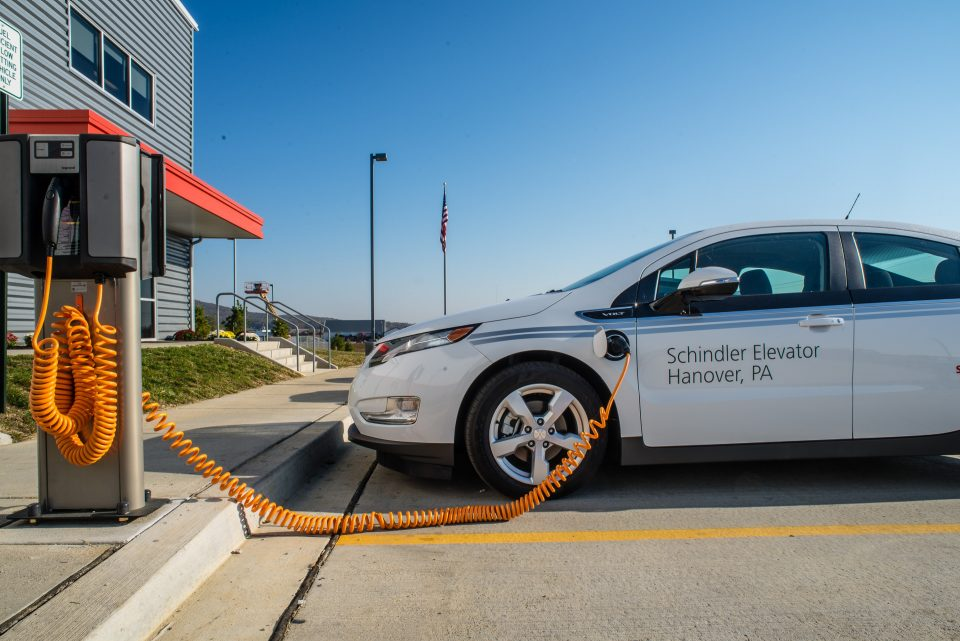 Car charging station at Schindler Hanover facility - The two electric car charging stations in the parking lot encourage employees and visitors to travel to the facility using low- and zero-emission vehicles.