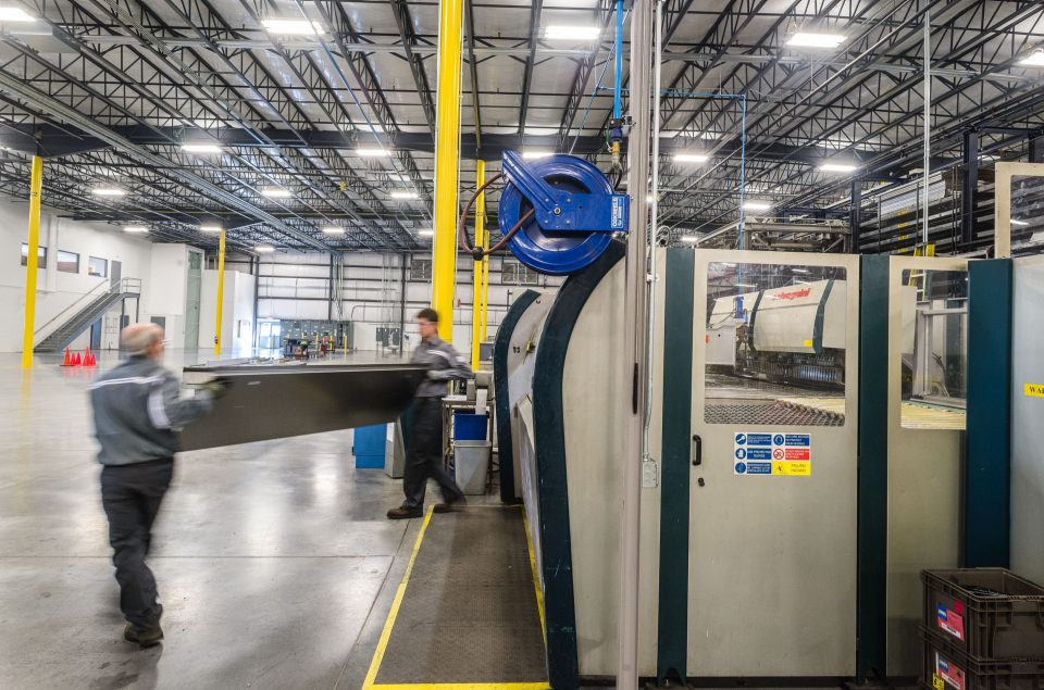 Hanover elevator production facility - Schindler's 150,000+ square foot manufacturing facility focuses on the fabrication of components visible to customers, like doors, entrances and elevator cab interiors.