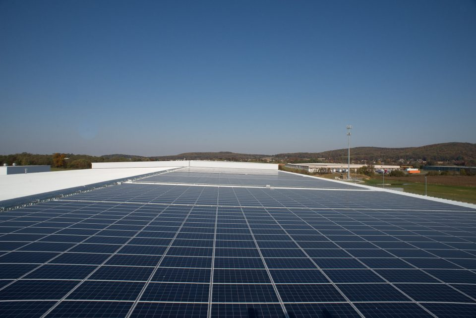 Photovoltaic solar array at Hanover facility - The 665 kilowatt photovoltaic solar array at Schindler's manufacturing plant generates half of the building's total annual power consumption and provides renewable energy year-round.