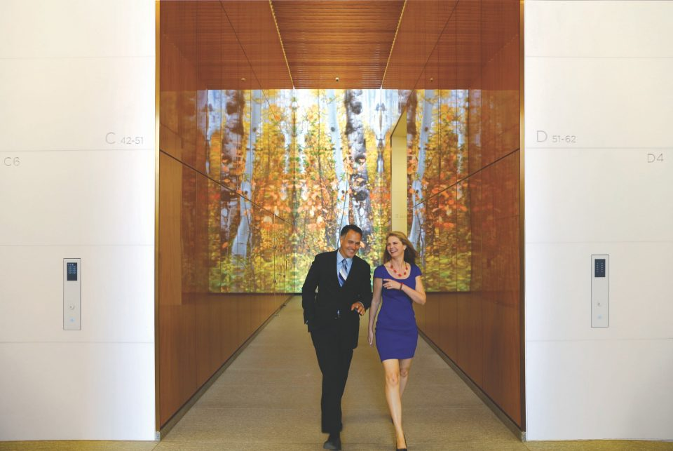 4 World Trade Center is designed for peace and tranquility - High-definition LED video screens in the elevator banks display nature scenes, bringing peace and tranquility to life in the lobby at 4 World Trade Center.
