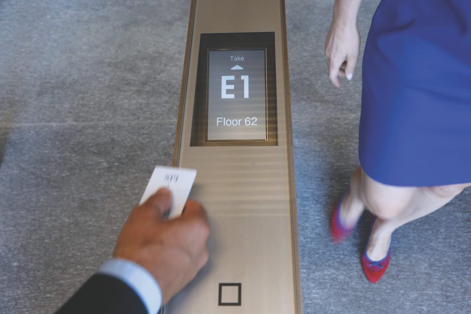 Call an elevator with PORT Technology - Schindler's PORT technology destination dispatch system at 4 World Trade Center uses RFID readers for speed and convenience, offering guests a highly personalized and secure building experience.