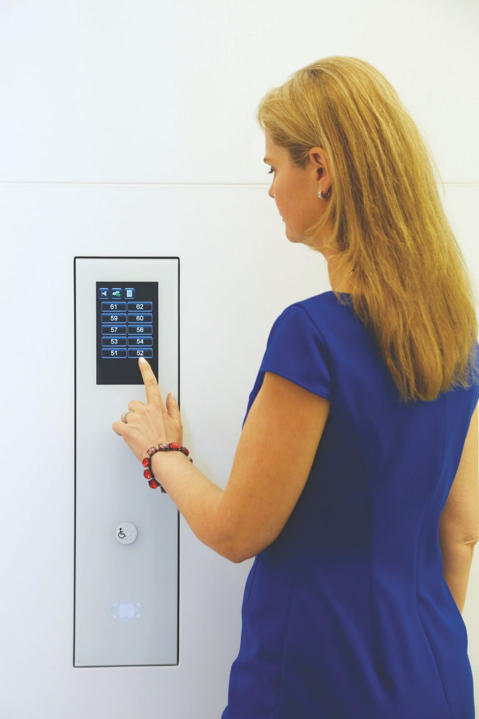 PORT Technology provides elevator access - Custom designed glass PORT terminals from Schindler not only set a new design standard, but offer guests and tenants at 4 World Trade Center personalized service via seamlessly integrated touch-screen and RFID interfaces.