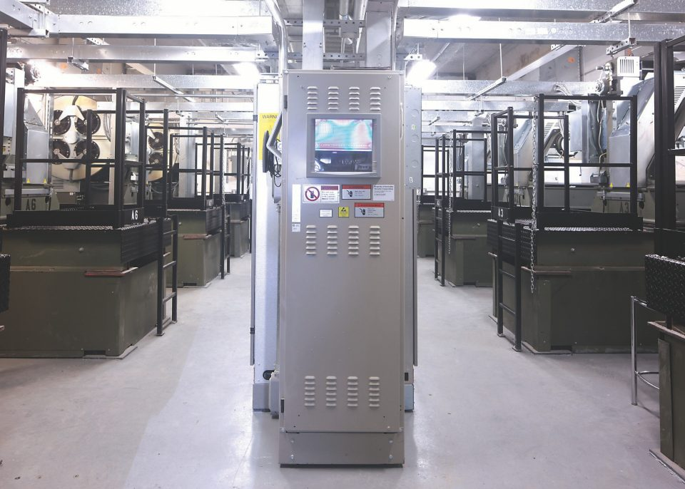 Elevator machine room - The elevator machine rooms include PORT cabinets that monitor each elevator's performance using Schindler's custom traffic management system.
