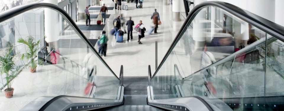 This is picture of escalator at the airport in Naples, Italy